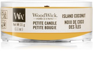 Woodwick Island Coconut mala mirisna svijeća bez staklene posude s drvenim fitiljem