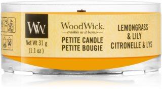 Woodwick Lemongrass & Lily votivna sveča z lesenim stenjem