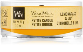Woodwick Lemongrass & Lily candela votiva con stoppino in legno