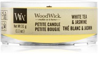 Woodwick White Tea & Jasmine lumânare votiv cu fitil din lemn