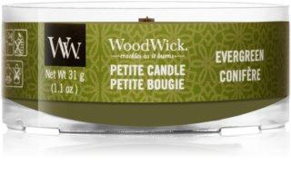 Woodwick Evergreen candela votiva con stoppino in legno