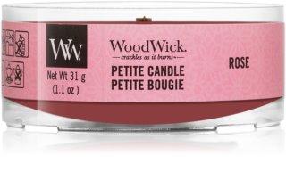 Woodwick Rose votivna sveča z lesenim stenjem