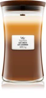 Woodwick Trilogy Café Sweets lumânare parfumată  cu fitil din lemn