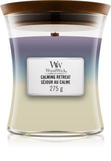 Woodwick Trilogy Calming Retreat αρωματικό κερί με ξύλινο φιτίλι
