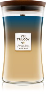 Woodwick Trilogy Nautical Escape geurkaars met een houten lont