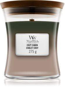 Woodwick Trilogy Cozy Cabin αρωματικό κερί με ξύλινο φιτίλι