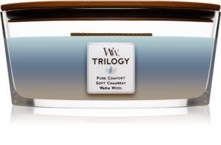 Woodwick Trilogy Woven Comforts scented candle wooden wick (hearthwick)