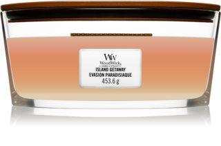 Woodwick Trilogy Island Getaway vela perfumada com pavio de madeira (hearthwick)