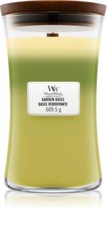 Woodwick Trilogy Garden Oasis lumânare parfumată  cu fitil din lemn