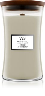 Woodwick Fireplace Fireside candela profumata con stoppino in legno