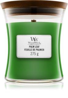 Woodwick Palm Leaf dišeča sveča  z lesenim stenjem