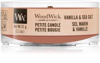 Woodwick Vanilla & Sea Salt votivna sveča z lesenim stenjem