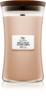 Woodwick Vanilla & Sea Salt candela profumata con stoppino in legno