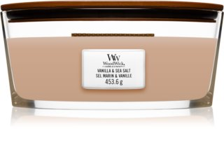 Woodwick Vanilla & Sea Salt geurkaars met een houten lont (hearthwick)