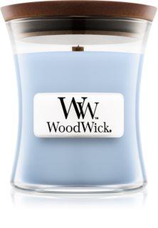 Woodwick Soft Chambray mirisna svijeća s drvenim fitiljem