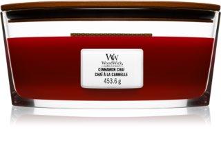 Woodwick Cinnamon Chai vela perfumada com pavio de madeira (hearthwick)