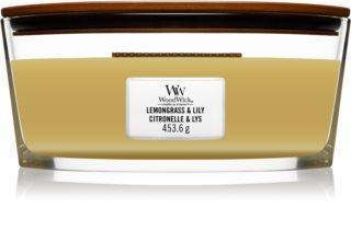 Woodwick Lemongrass & Lily candela profumata con stoppino in legno (hearthwick)