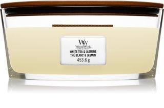 Woodwick White Tea & Jasmine bougie parfumée avec mèche en bois (hearthwick)