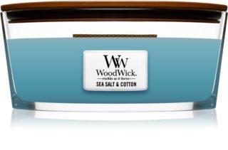 Woodwick Sea Salt & Cotton dišeča sveča  z lesenim stenjem (hearthwick)