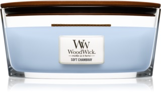 Woodwick Soft Chambray scented candle wooden wick (hearthwick)
