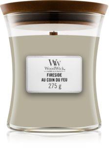Woodwick Fireplace Fireside dišeča sveča  z lesenim stenjem