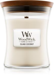 Woodwick Island Coconut dišeča sveča  z lesenim stenjem