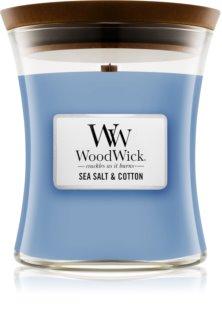 Woodwick Sea Salt & Cotton vonná sviečka s dreveným knotom