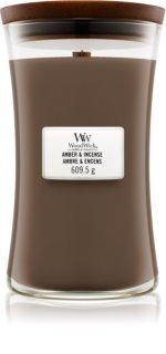 Woodwick Amber & Incense vela perfumada com pavio de madeira