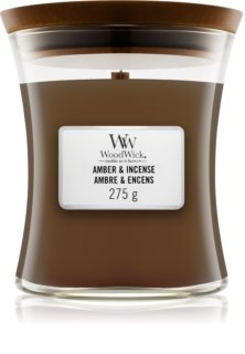 Woodwick Amber & Incense candela profumata con stoppino in legno