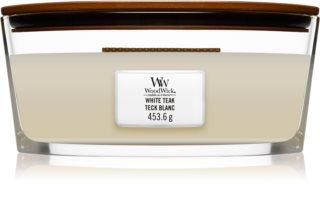 Woodwick White Teak świeczka zapachowa  z drewnianym knotem (hearthwick)