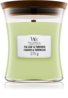 Woodwick Fig Leaf & Tuberose candela profumata con stoppino in legno