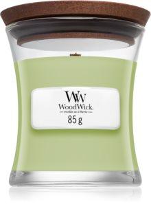 Woodwick Fig Leaf & Tuberose aроматична свічка з дерев'яним гнітом