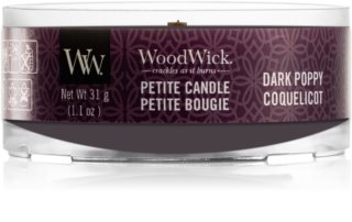 Woodwick Dark Poppy candela votiva con stoppino in legno 31 g