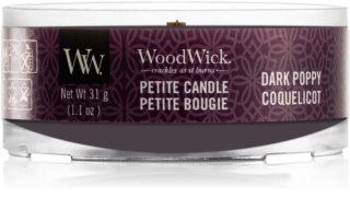 Woodwick Dark Poppy votiefkaarsen met een houten lont