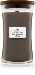 Woodwick Black Amber & Citrus bougie parfumée grande