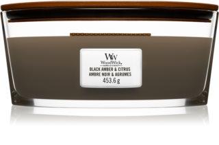Woodwick Black Amber & Citrus αρωματικό κερί με ξύλινο φιτίλι (hearthwick)