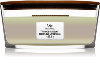 Woodwick Trilogy Terrace Blossoms lumânare parfumată  cu fitil din lemn (hearthwick)