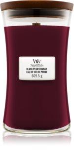 Woodwick Black Plum vela perfumada com pavio de madeira
