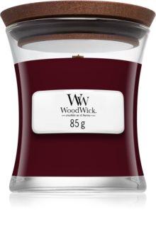 Woodwick Black Plum ароматна свещ  с дървен фитил