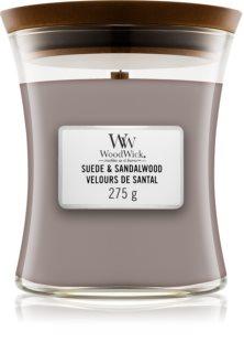 Woodwick Suede & Sandalwood dišeča sveča