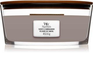 Woodwick Suede & Sandalwood vela perfumada com pavio de madeira (hearthwick)