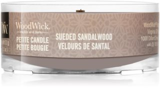 Woodwick Suede & Sandalwood candela votiva con stoppino in legno