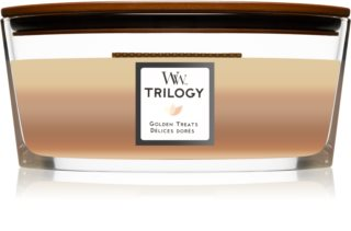 Woodwick Trilogy Golden Treats vela perfumada com pavio de madeira (hearthwick)