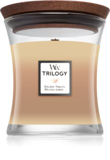 Woodwick Trilogy Golden Treats duftkerze  mit Holzdocht