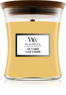 Woodwick Oat Flower dišeča sveča  z lesenim stenjem (hearthwick)