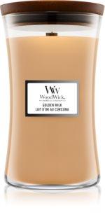 Woodwick Golden Milk vela perfumada com pavio de madeira