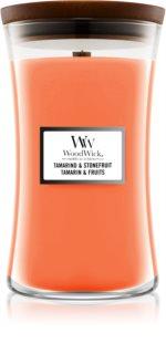 Woodwick Tamarind & Stonefruit ароматна свещ  с дървен фитил
