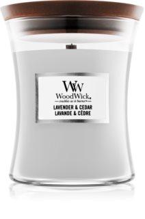 Woodwick Lavender & Cedar mirisna svijeća