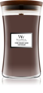 Woodwick Stone Washed Suede illatos gyertya  fa kanóccal