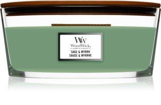 Woodwick Sage & Myrrh aроматична свічка з дерев'яним гнітом (hearthwick)